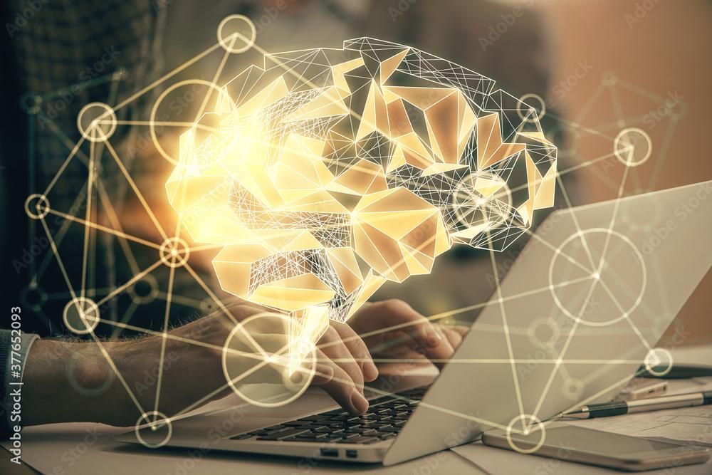 Fototapeta Man typing on keyboard background with brain hologram. Concept of big Data.