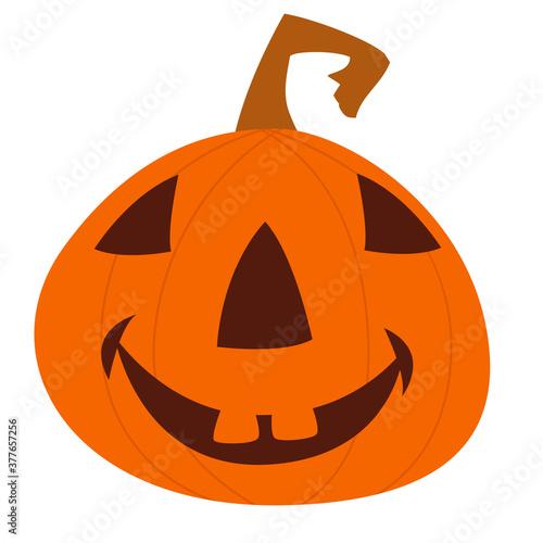 Cartoon funny halloween pumpkin head isolated Canvas Print