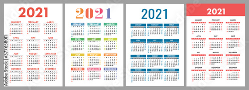 Obraz Calendar 2021 year set. Vector template collection. Simple design. Week starts on Sunday. January, February, March, April, May, June, July, August, September, October, November, December - fototapety do salonu