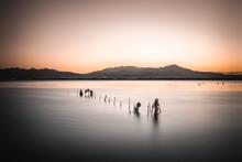 Idyllic Scene Of  A Traditional Fishing Spot At Stagno Santa Gilla Near Cagliari, South Sardinia, Italy