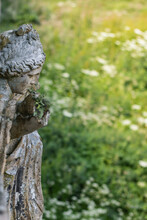 Statue With A Green Bokeh Background