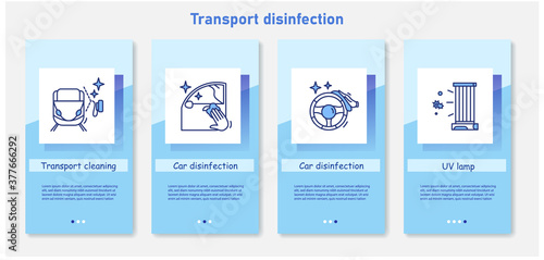 Transport disinfection onboarding mobile app page screens Fotobehang