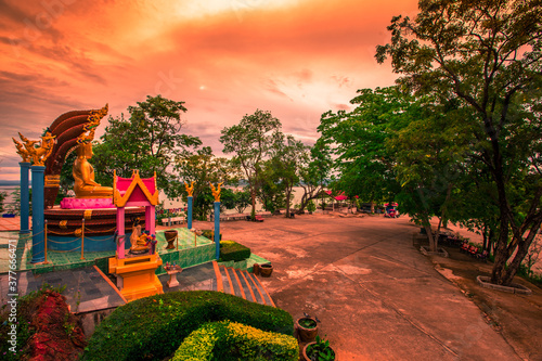 The background of a bridge or a walkway to admire the mountain scenery resembles a Phaya Naga mortgage statue, (Wat Phra Bat Phu Pan Kham) in Khon Kaen Province, Thailand Canvas Print
