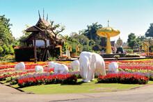 Chiangmai, Thailand - 16 April 2018 : White Elephant Sculptures At Royal Park Ratchaphruek Or Rajapruek, Decorate In A Botanical Garden. Outdoor Gardening Decoration. Landscape Design Concept.