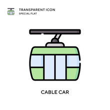 Cable Car Vector Icon. Flat Style Illustration. EPS 10 Vector.