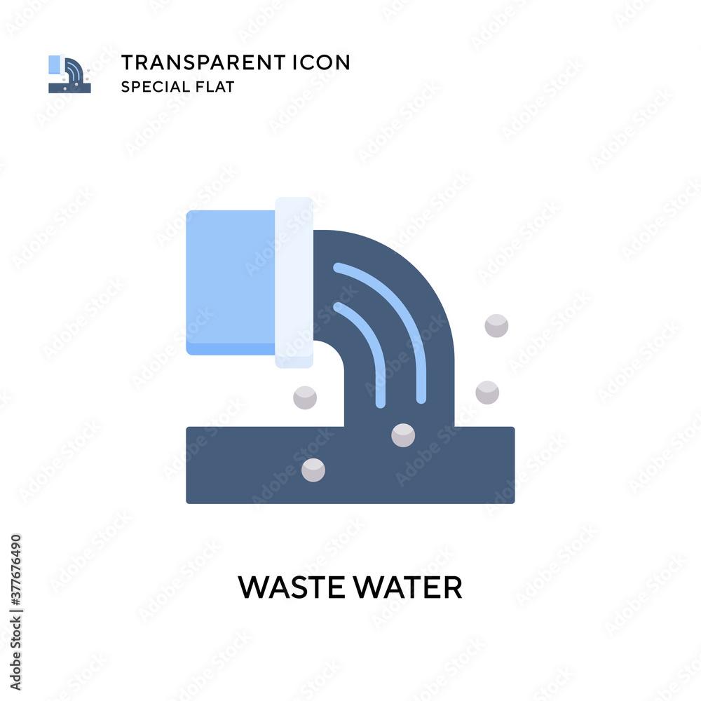 Fototapeta Waste water vector icon. Flat style illustration. EPS 10 vector.