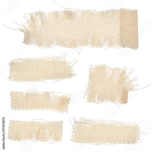 Set of long rectangular fabric textures isolated on a white background Canvas