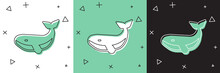 Set Whale Icon Isolated On White And Green, Black Background. Vector.