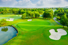 Aerial View Of Green Grass And...