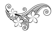 Maori Style Tattoo.  Ethnic Decorative Oriental Ornament With Frangipani Plumeria Flowers. Coloring Book Page.
