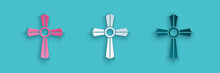 Paper Cut Tombstone With Cross Icon Isolated On Blue Background. Grave Icon. Paper Art Style. Vector.