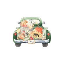Vintage Truck Filled Autumn Harvest Of Wicker Basket With Pumpkins, Sunflower, Apples And Colorful Leaves. Watercolor Illustration Green Retro Car, Holiday Card For Thanksgiving Day, Kitchen Poster.