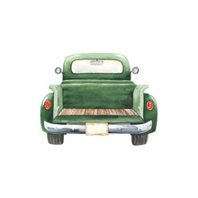 Watercolor Vintage Truck Green Color With Empty Body, Template For Your Illustration Farm, Harvest, Travel, Christmas Or Thanksgiving Day. Isolated Retro Car On White Background With Empty Trunk.