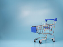 Shopping Mall Cart Model On A Blue Background.