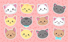 Set Of Cute Cat Heads. Collection Of Kawaii Stickers. Vector Illustration.