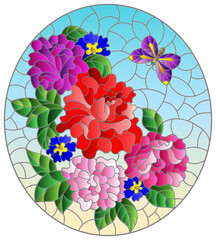 Fototapeta Witraże świeckie Illustration in stained glass style with rose flowers and a butterfly on a blue background, oval image