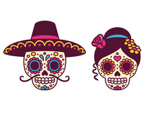 Mexican Sugar Skull Couple