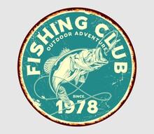 Fishing Club Retro Vintage Sign