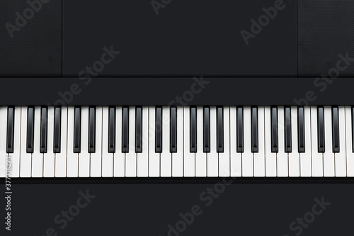 Valokuva Music keyboard top view background. Concept banner
