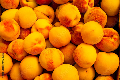Obraz na plátně delicious ripe peaches ready to eat