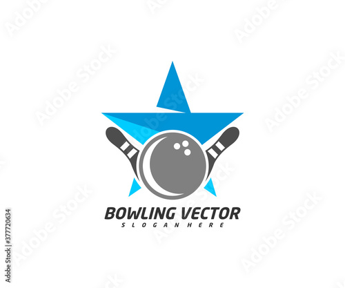 Photo Bowling with Star logo template design vector, Illustration, Creative symbol, Ic