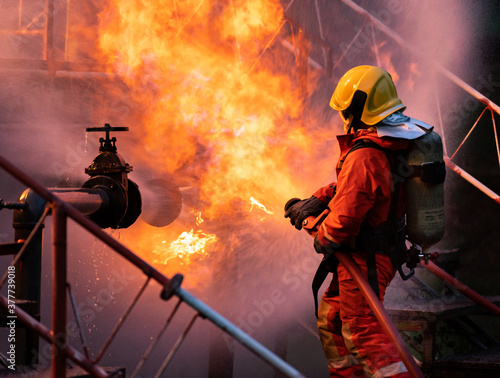 Obraz Firefighters using water fog spraying down fire from oil rig factory explosion - fototapety do salonu