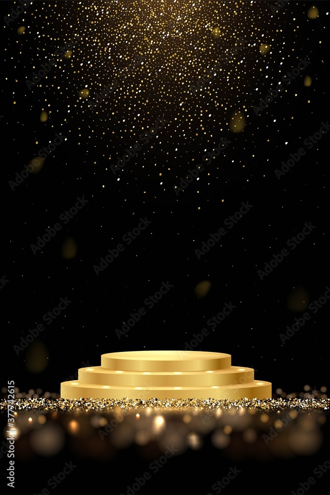 Fototapeta Golden award round podium with shiny glitter and sparkles isolated on dark background. Vector realistic illustration of symbol of victory, achievement of success, rewarding of winner.