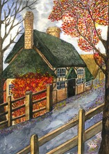 Watercolor Illustration Of An Autumn Village Landscape With Houses Of English And European Architecture, Yellow And Red Leaves On Trees And Paved Road.Wherwell, Hampshire