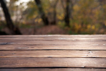 Empty Wooden Table Nature Bokeh Background With A Country Outdoor Theme,Template Mock Up For Display Of Product