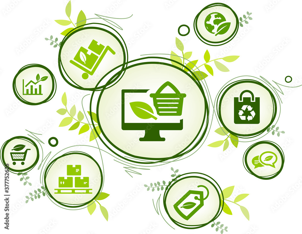 Fototapeta ecological product and packaging vector illustration. Green concept with icons related to environmentally friendly organic shopping or ecommerce, sustainable procurement or purchasing, zero waste.
