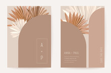 Wedding Invitation Minimalist Card, Boho Art Deco Tropical Palm Leaves Poster, Frame Set, Modern Minimal Terracotta Template Vector. Save The Date Golden Foliage Trendy Design, Luxury Brochure