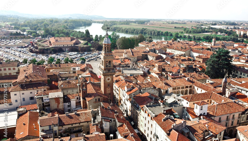 Fototapeta aerial view of casal monferrato, italy