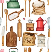 Watercolor Cooking Tools Pattern