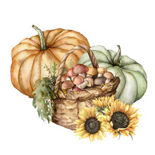 Watercolor Autumn Composition With Pumpkins, Sunflowers And Mushrooms. Hand Painted Rustic Card With Boletus Isolated On White Background. Floral Illustration For Design, Print, Fabric Or Background.