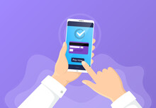 Pay By Credit Card From Phone. Mobile Cellphone Banking App. Online E-payment By Card. Hand Hold Smartphone. Online Banking Transaction Process. Approve Phone Payment. Non-cash Money. Vector