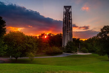 Sunburst At Sunset At The Carillon Bell Tower In Naperville, Illinois Just West Of Chicago