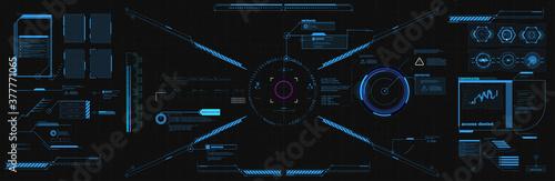Cuadros en Lienzo Modern illustration for game background design Futuristic HUD, GUI interface screen design