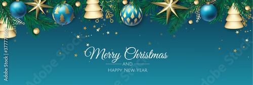 Fototapeta Merry Christmas background with christmas element. Vector illustration obraz