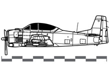 North American T-28 Trojan. Vector Drawing Of Training And Light Attack Aircraft. Side View. Image For Illustration And Infographics.