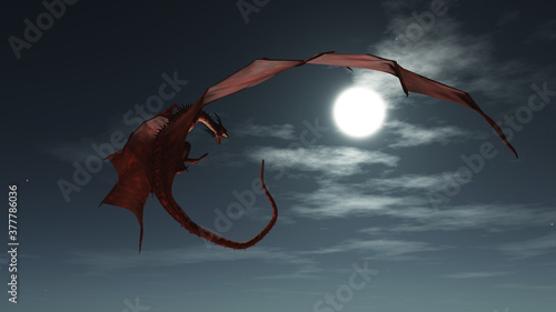 Stampa su Tela Fantasy illustration of a red dragon flying in the night sky in the moonlight, 3