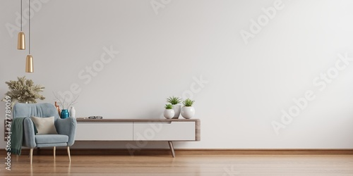 Fotografie, Obraz Interior of a bright living room with armchair on empty white wall background