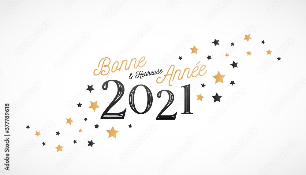 Fototapeta Bonne et heureuse année 2021 - Carte de voeux