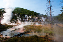 Steam From Hot Water In Artist Paint Pots Area Of Yellowstone