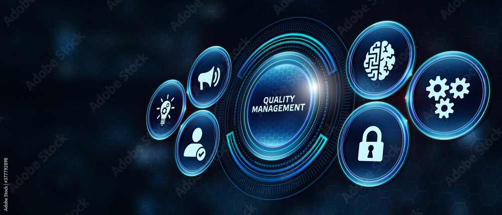 Fototapeta Businessman pressing quality management button on virtual screens. Business, Technology, Internet and network concept.