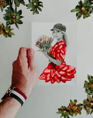 Fototapeta Boks Cada imagen en este proyecto fotográfico en curso asienta en una sección de un paisaje que se complementa con la última silueta de papel. Siluetas hechas a mano con la técnica paper cut.