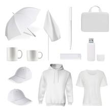 Branding White Item. Corporate Identity Template, Promotional Gift. Realistic Vector T-shirt, Cap, Bag, Usb-flesh Card, Mug Or Cup, Umbrella, Pen, Flag, Sweatshirt Illustration. Branding Item Mockup