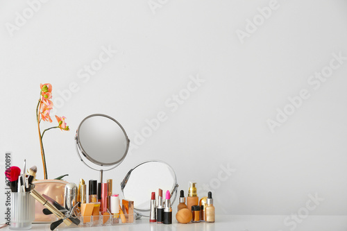 Set of decorative cosmetics and mirrors on dressing table Wallpaper Mural