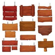 Wooden Boards Hang On Ropes And Chains. Cartoon Vector Signboards With Wood Texture, Banners Or Labels For Bar Or Saloon In Rustic Style. Blank Vintage Plank Panels For Pc Game Menu, Pub Entrance Set