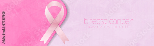 Breast cancer awareness month. Grunge pink background and ribbon tape. Women healthcare abstract vector banner
