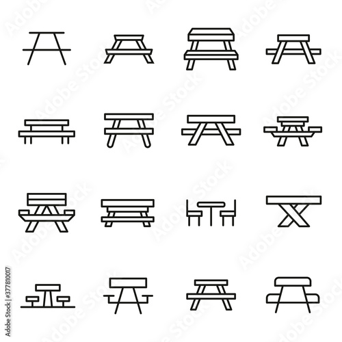 Fotografie, Obraz Simple set of picnic table icons in trendy line style.